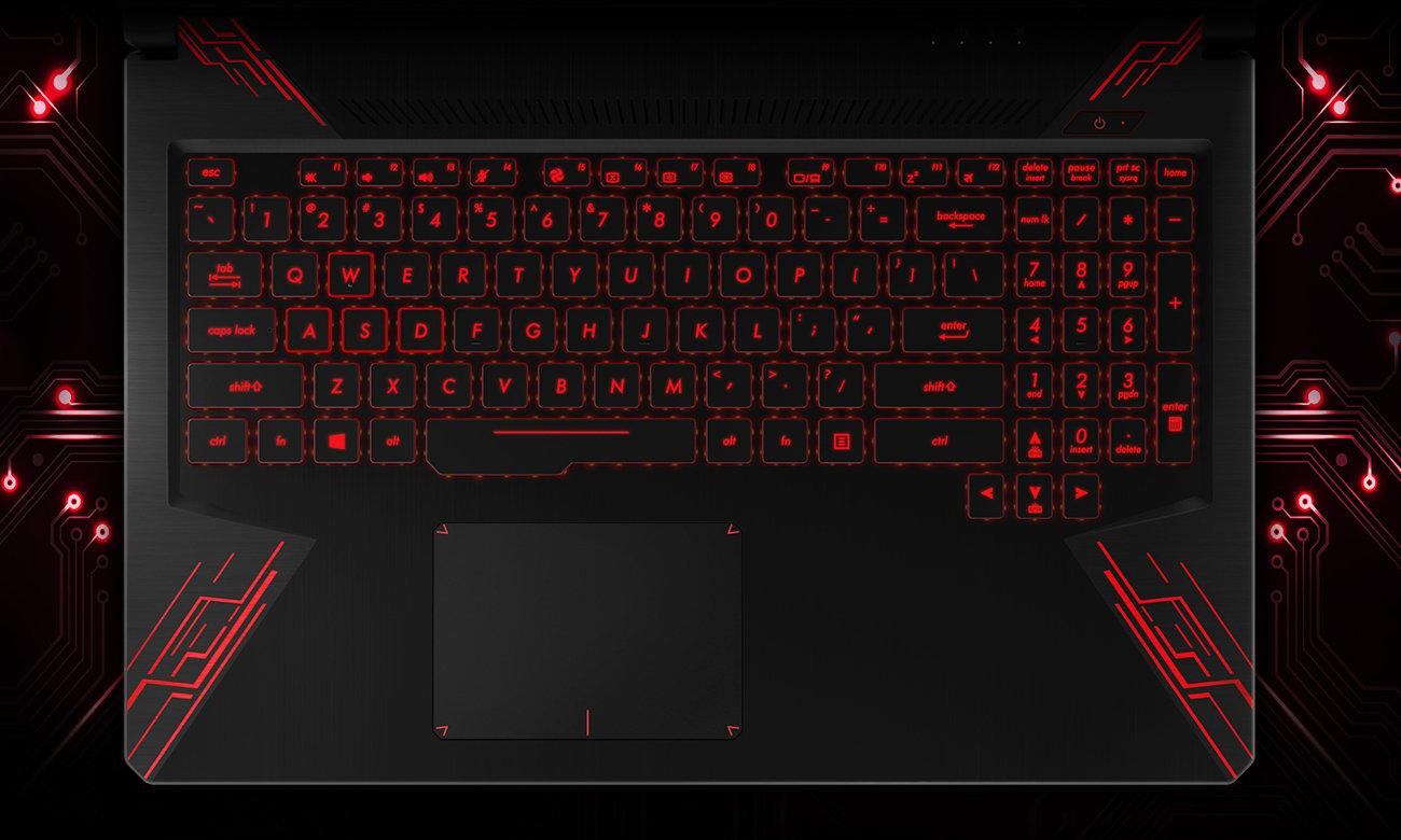 Asus TUF Gaming FX504 klawiatura wytrzymała wasd spacja podświetlenie