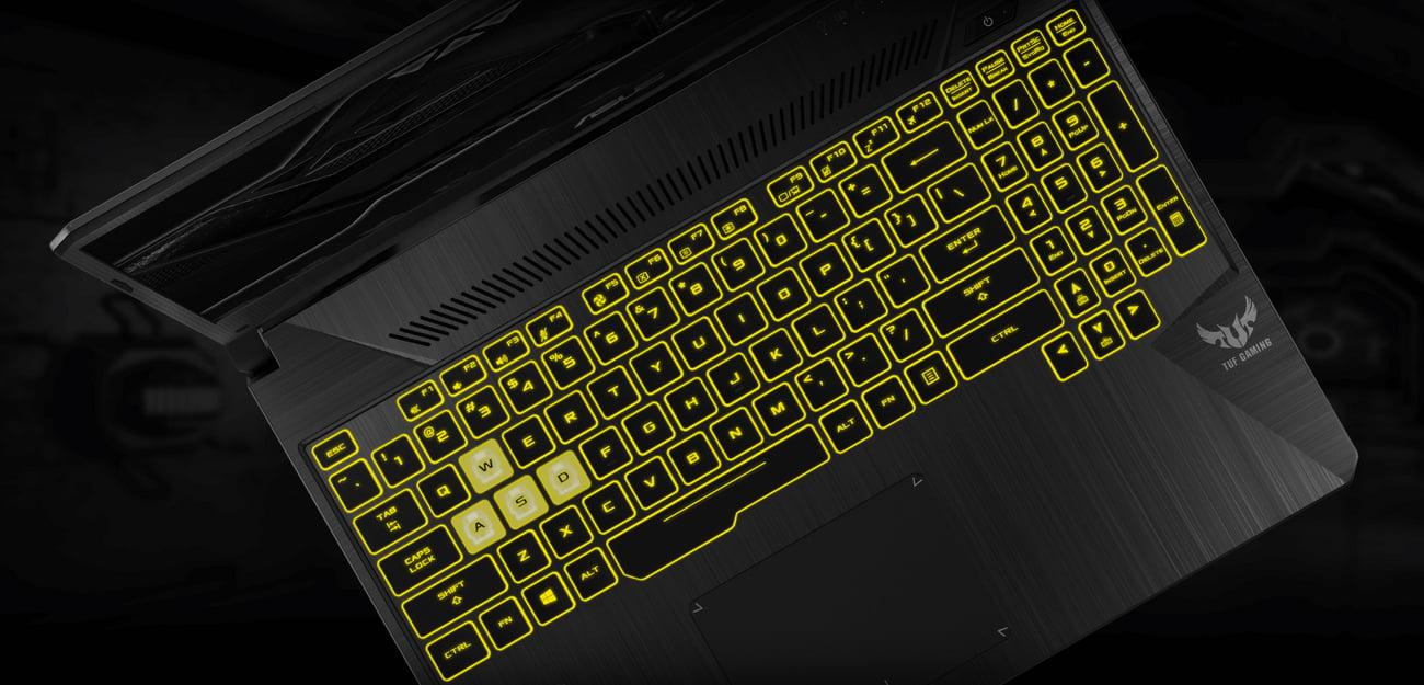 ASUS TUF Gaming FX505 podświetlana klawiatura