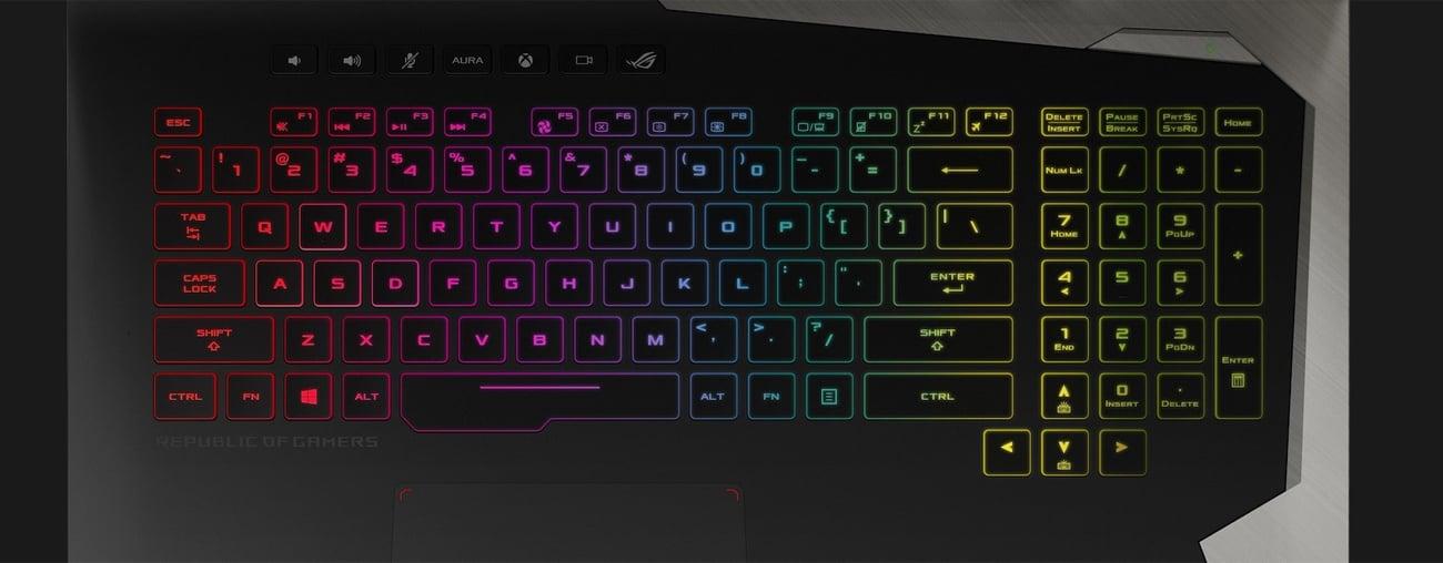Asus ROG G703GX technologia HyperStrike klawiatura podświetlana RGB