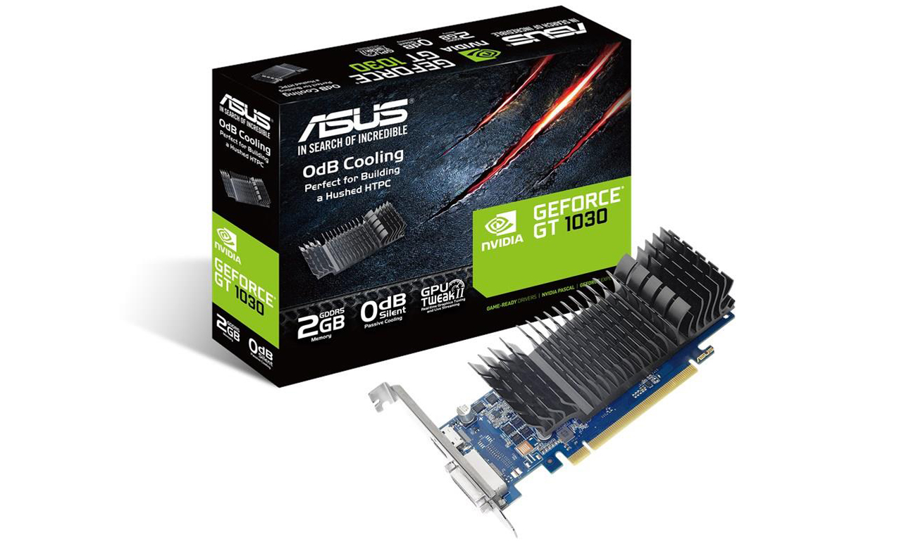 Die Grafikkarte mit 0dB Kühldesign AUTO EXTREME Technologie und GPU Tweak II ASUS GeForce SL 2GB GDDR5 GT1030 BRK