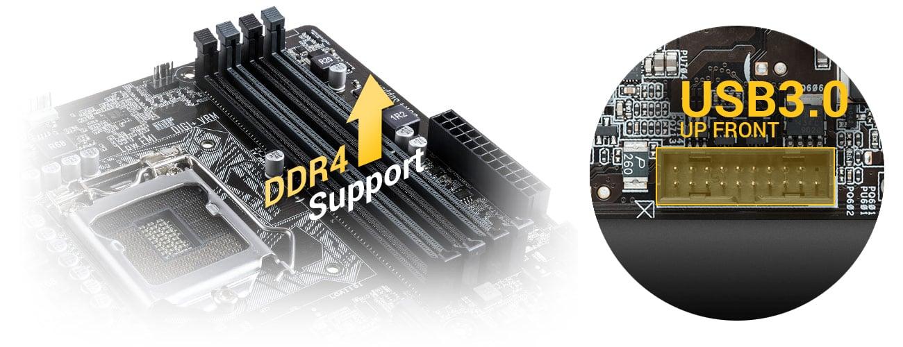 ASUS H110M-K Obsługa DDR4 USB 3.0