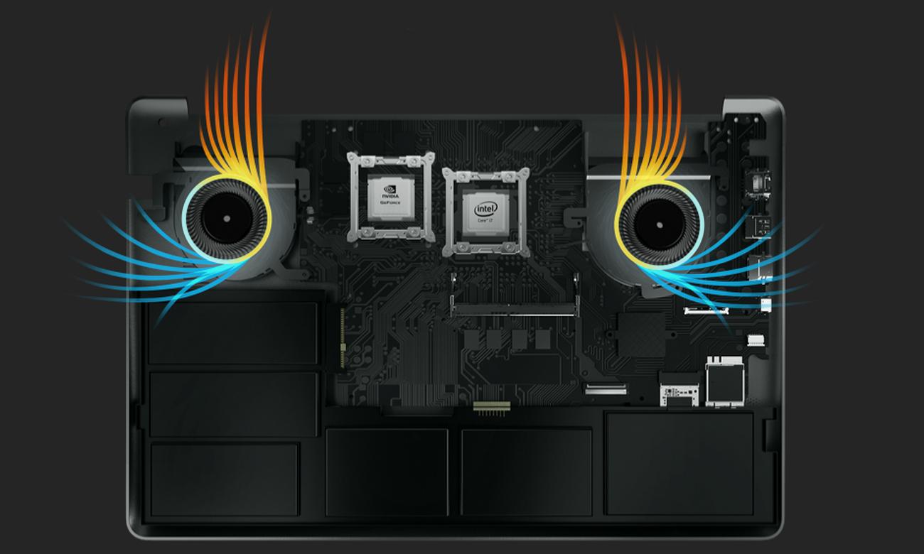 VivoBook Pro 17 N705UD Inteligentne podwójne wiatraki, Polepszona wydajność chłodzenia