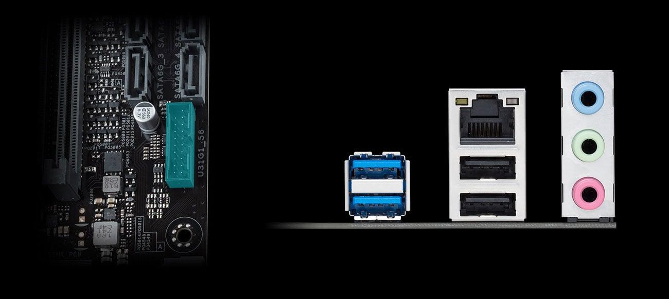 Płyta główna Asus PRIME H310M-K Złącza SATA III i USB