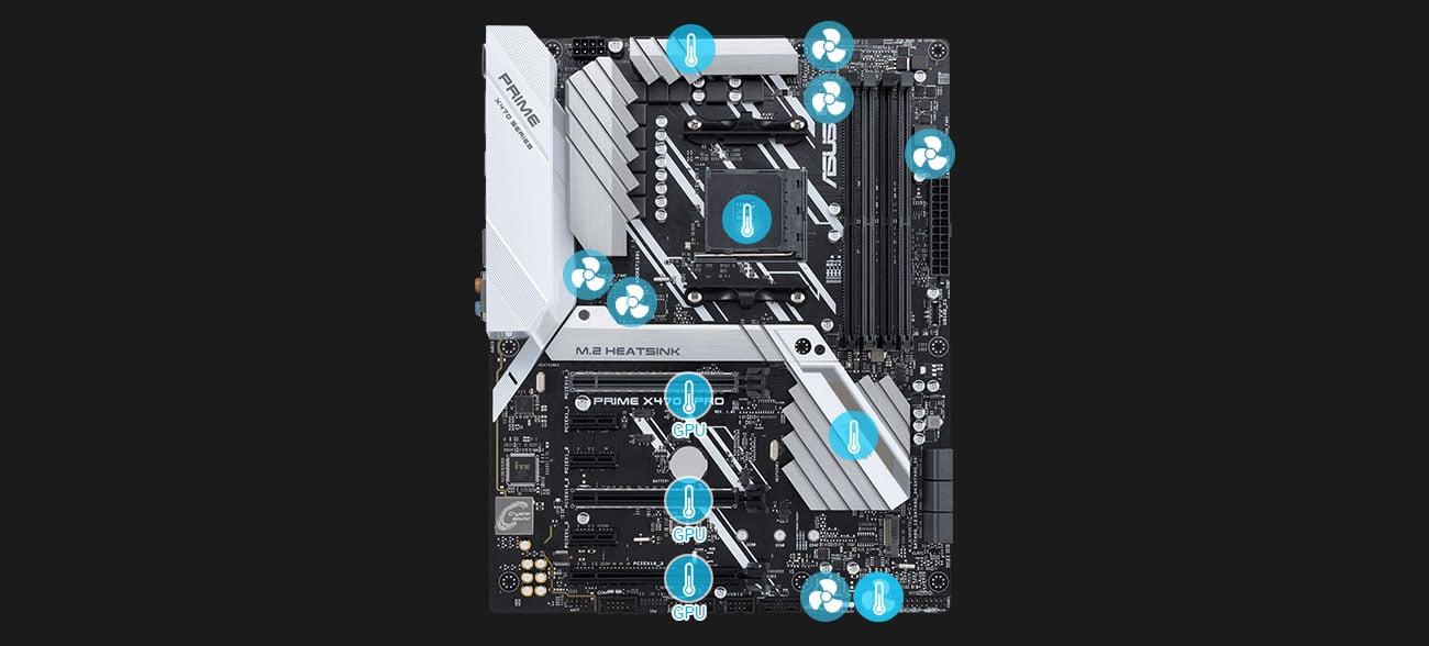 ASUS PRIME X470-PRO Chłodzenie z Fan Xpert 4
