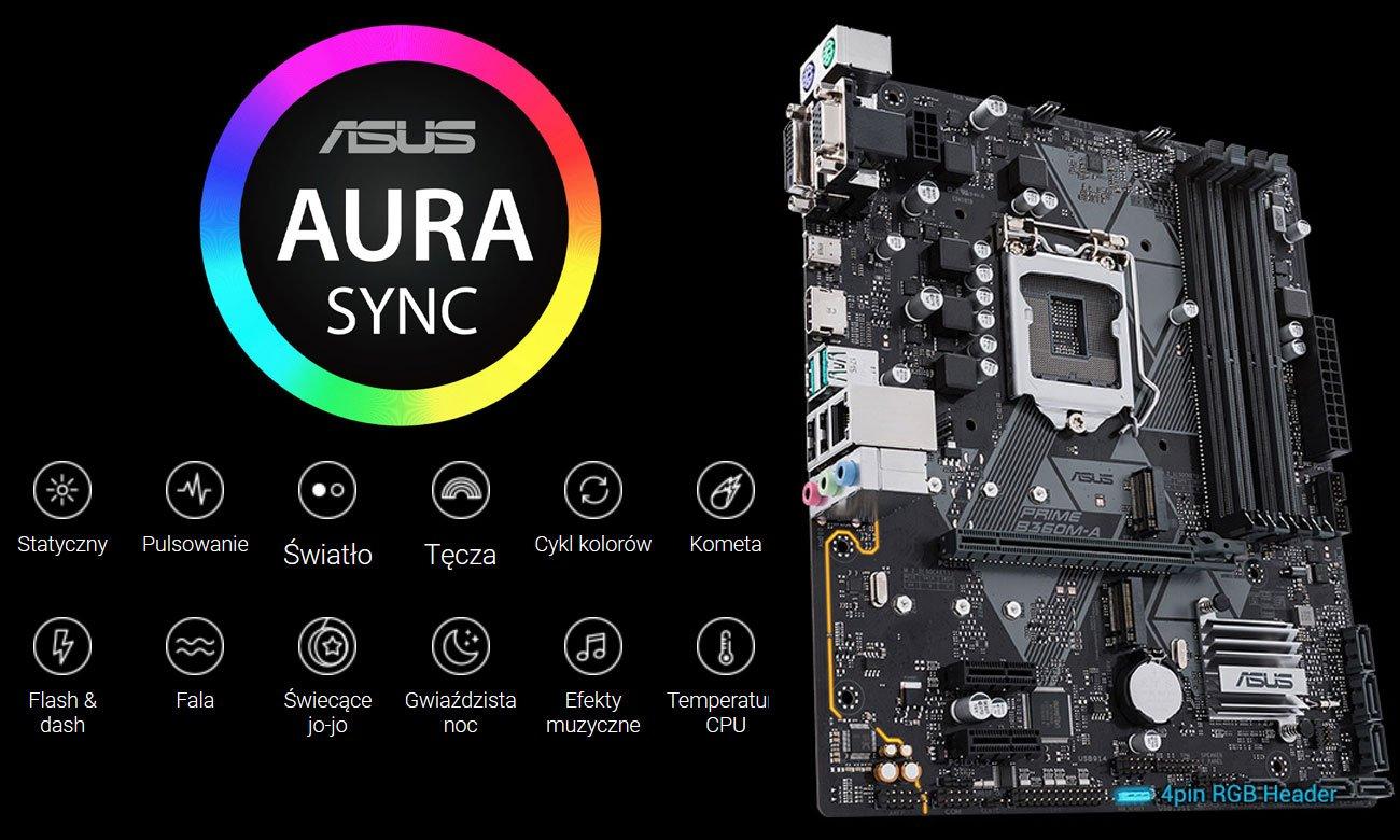 Asus Prime B360M-A Podświetlenie Aura Sync