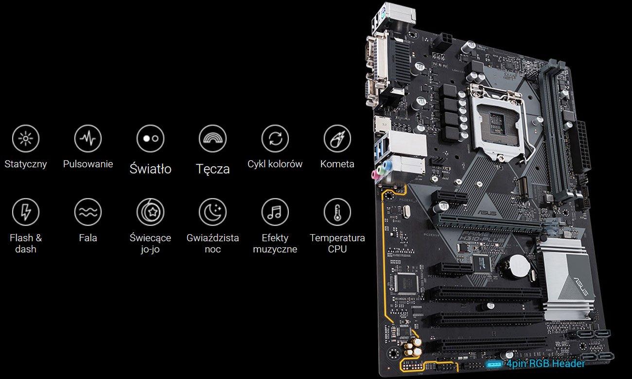 ASUS Prime H310-PLUS Podświetlenie ASUS Aura Sync