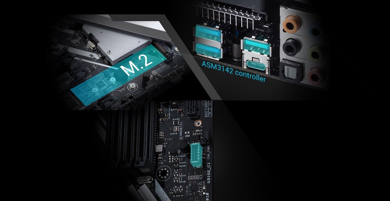 ASUS PRIME X399-A Złącza M.2, U.2, USB-C, USB 3.1 Gen. 2