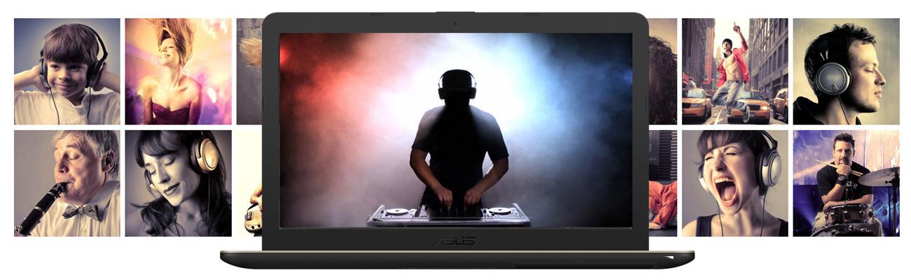 ASUS VivoBook R540MA Zachwycający dźwięk Technologia SonicMaster i AudioWizard