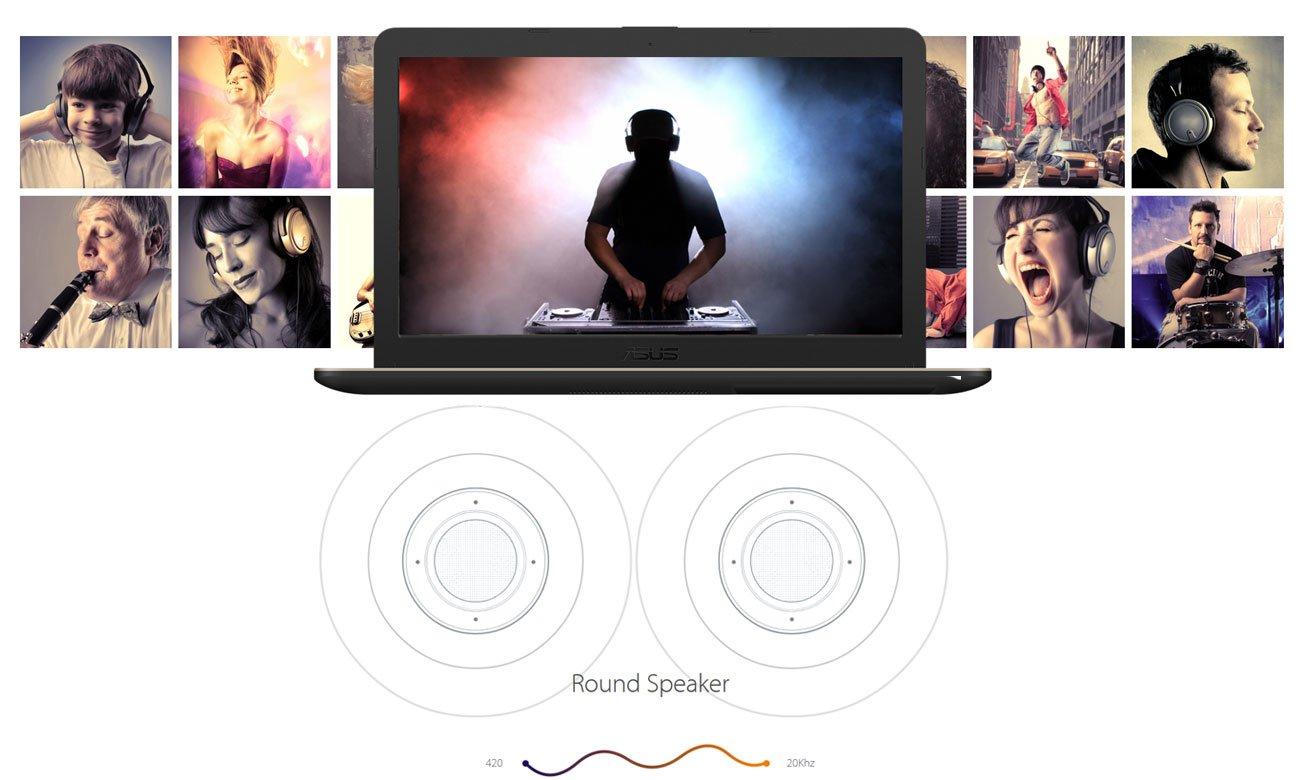 ASUS VivoBook R540UA Zachwycający dźwięk Technologia SonicMaster i AudioWizard