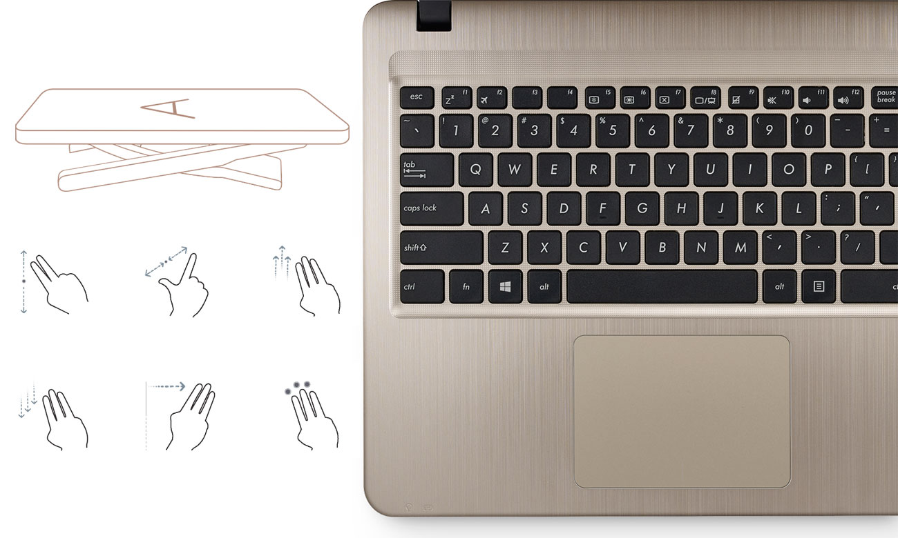 ASUS VivoBook R540UA Intuicyjny touchpad Smart Gesture, Pełnowymiarowa klawiatura chiclet