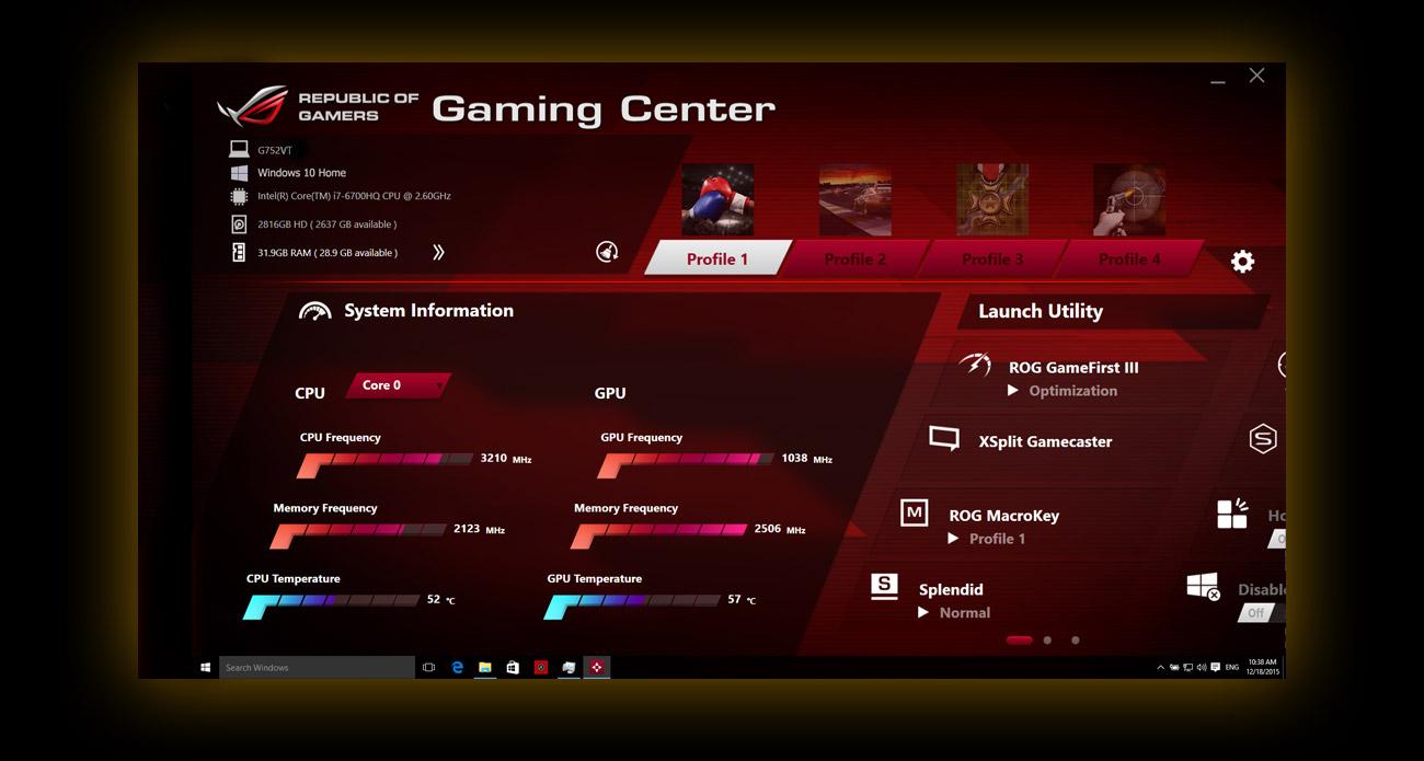 ASUS ROG G752VT Gaming center