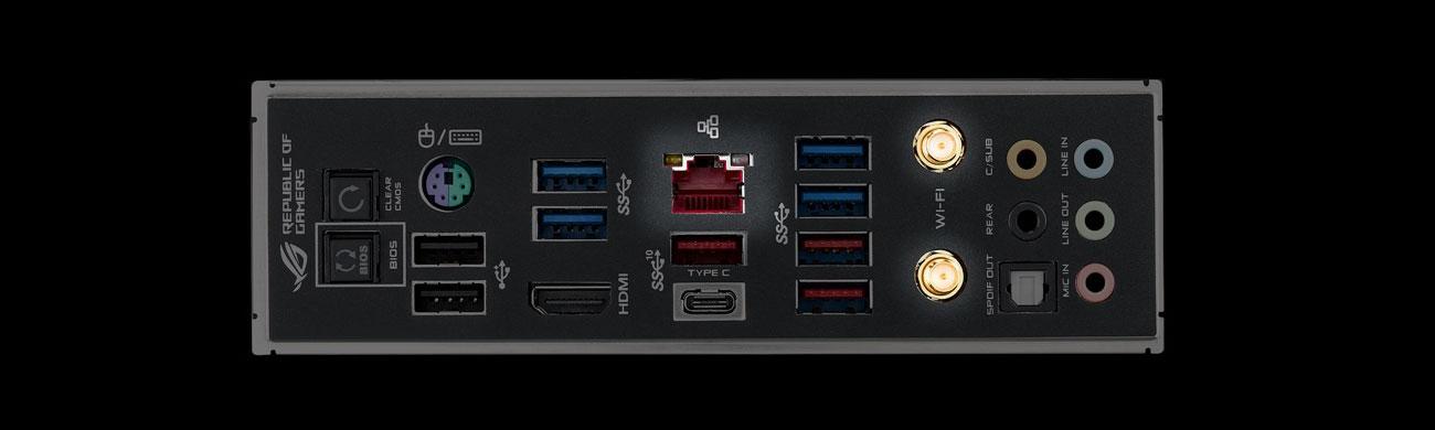 ASUS ROG MAXIMUS XI GENE Złącza LAN, Wi-Fi