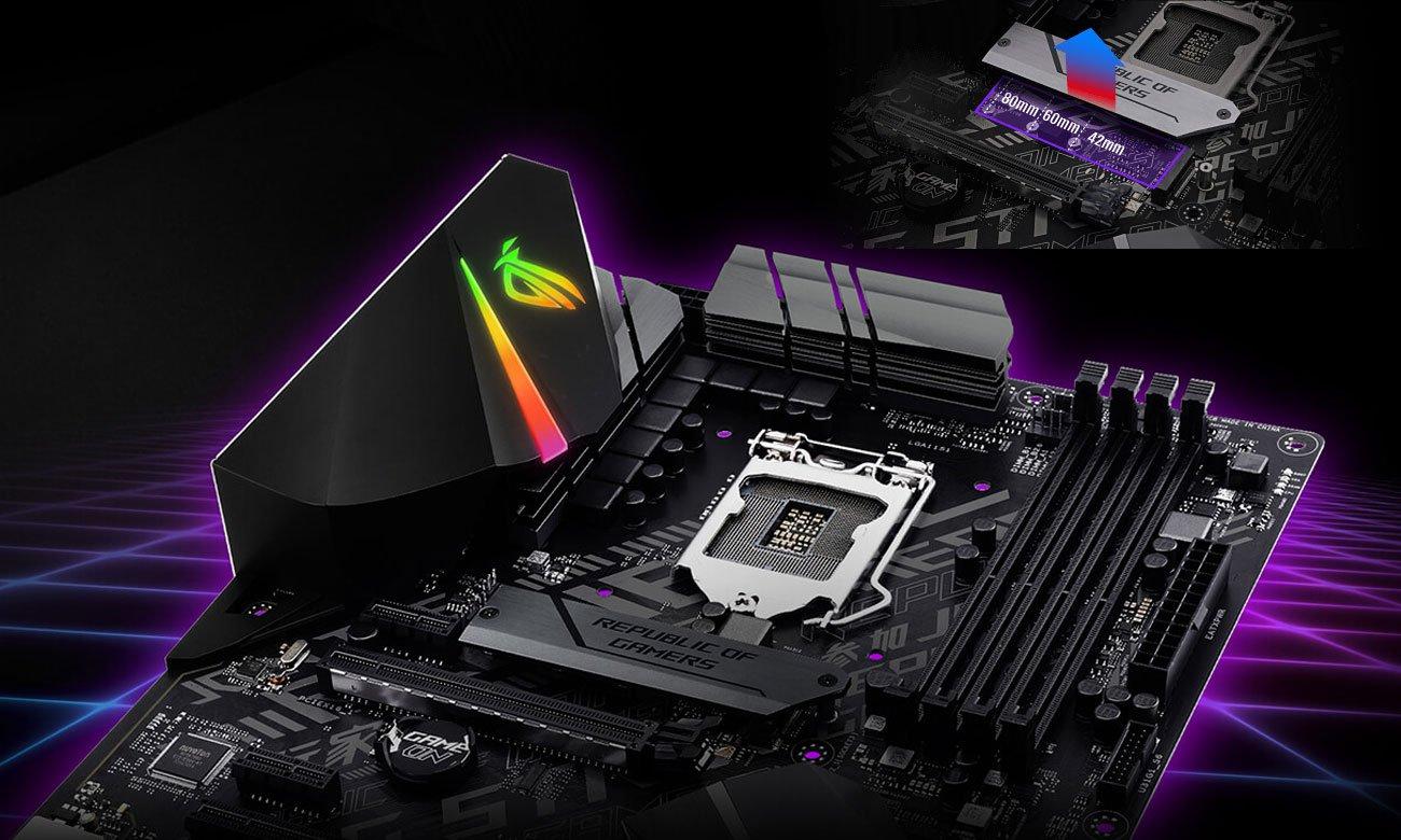ASUS ROG STRIX B360-F GAMING Doświadcz doskonałej wydajności, Dwa gniazda M.2 PCIe 3.0