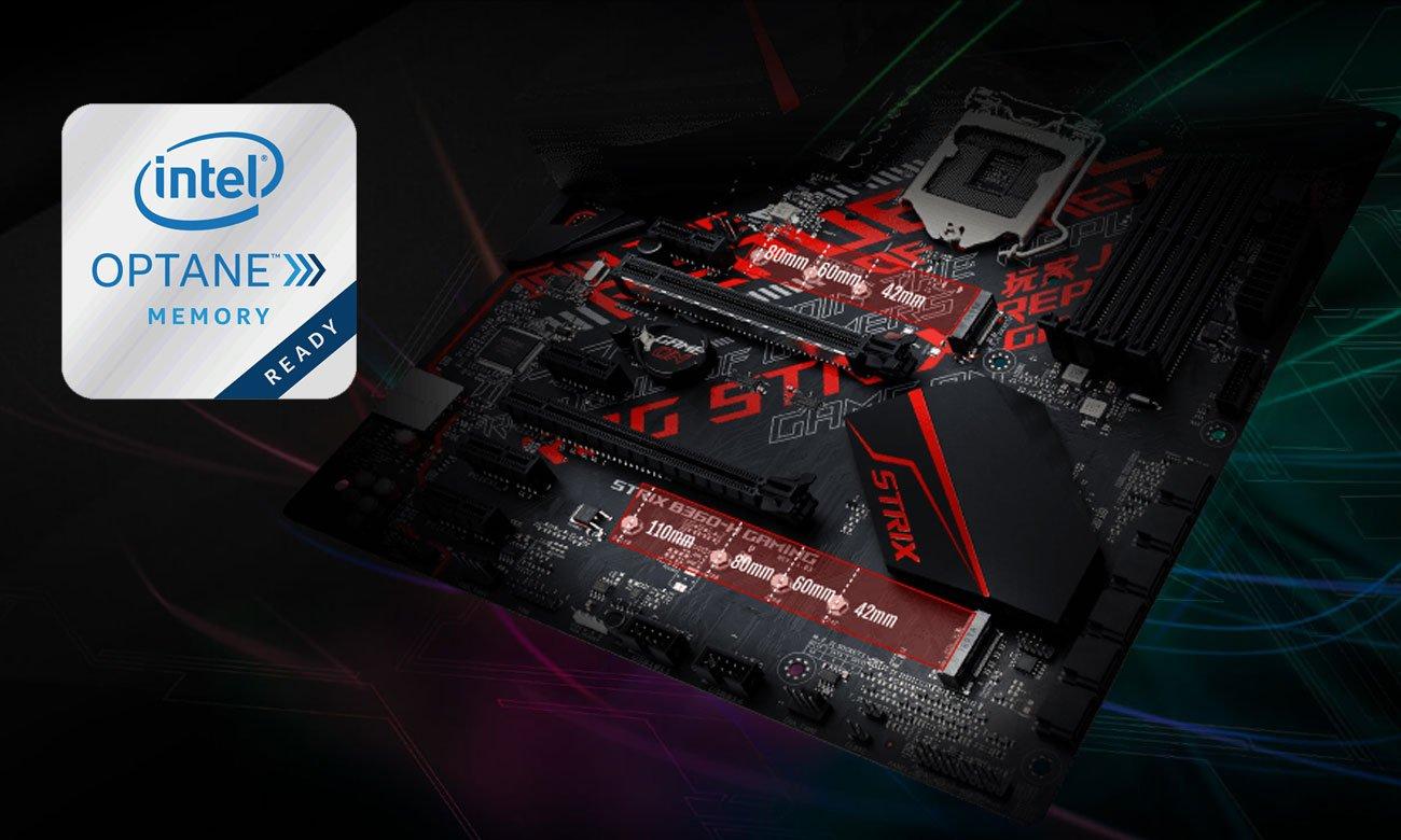 ASUS ROG STRIX B360-H GAMING Dwa gniazda M.2 PCIe 3.0, Obsługa Intel Optane