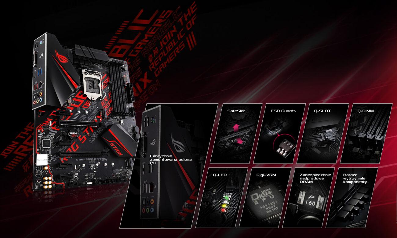 ASUS ROG STRIX B360-H GAMING Połączenie świetnej estetyki z wytrzymałością