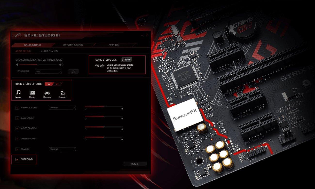 ASUS ROG STRIX B360-H GAMING Technologia dźwiękowa SupremeFX