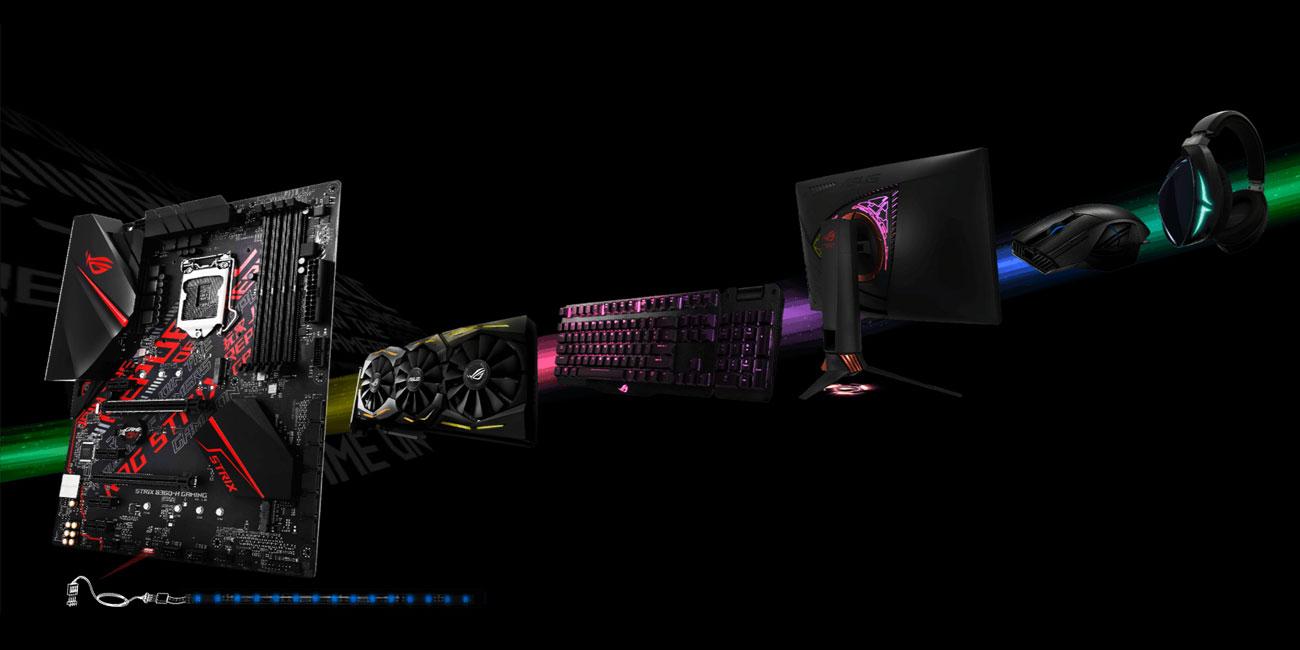 ASUS ROG STRIX B360-H GAMING Oświetlenie Aura RGB, Aura Sync