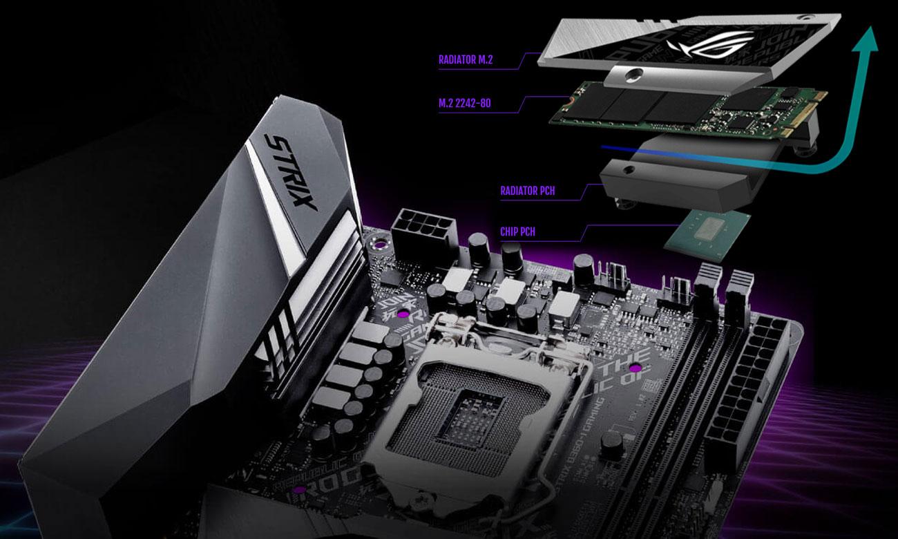 ASUS ROG STRIX B360-I GAMING Doświadcz doskonałej wydajności, Dwa gniazda M.2 PCIe 3.0
