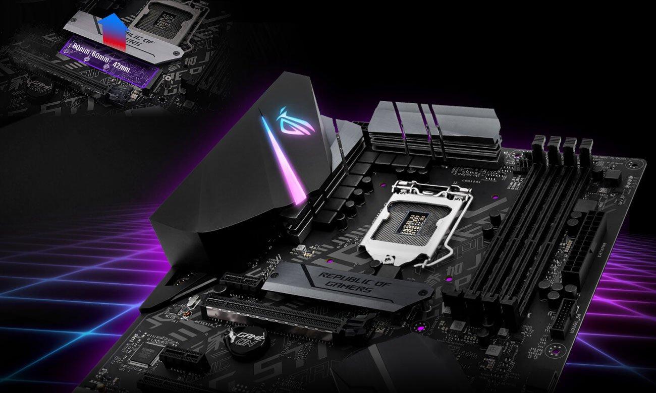 ASUS ROG STRIX H370-F GAMING Doświadcz doskonałej wydajności, Dwa gniazda M.2 PCIe 3.0