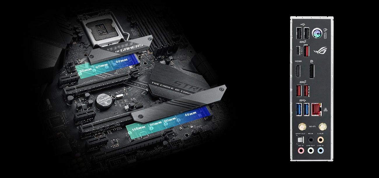ASUS ROG STRIX Z390-E GAMING Złącza M.2 i USB