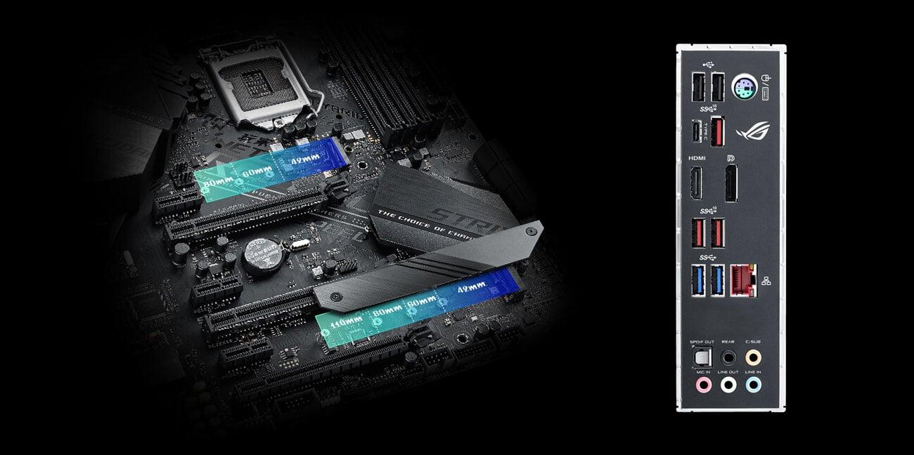 ASUS ROG STRIX Z390-F GAMING Złącza M.2 i USB