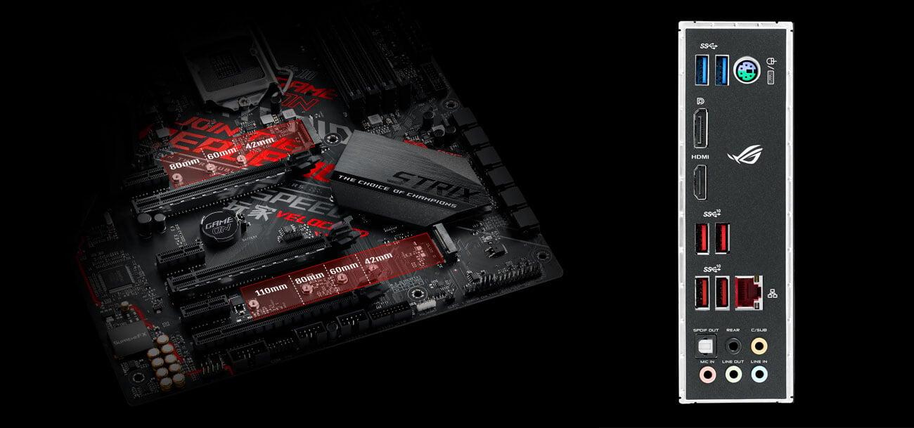 ASUS ROG STRIX Z390-H GAMING Złącza M.2 i USB