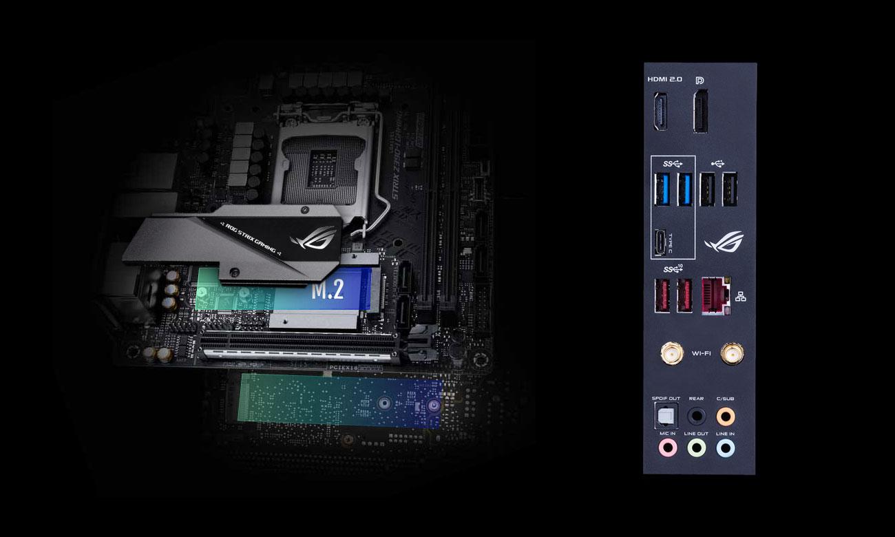 ASUS ROG STRIX Z390-I GAMING Złącza M.2 i USB