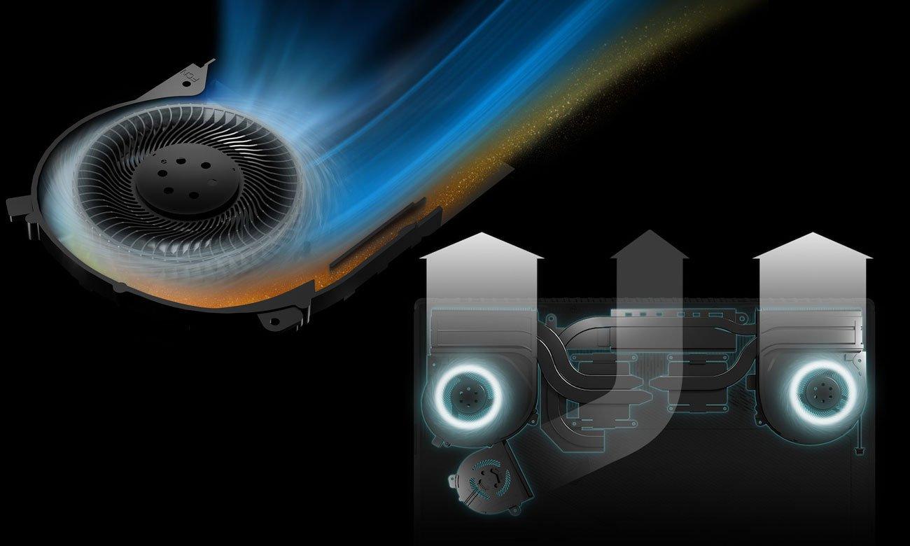 ASUS ROG Strix SCAR GL703GM Specjalnie zaprojektowany system chłodzenia