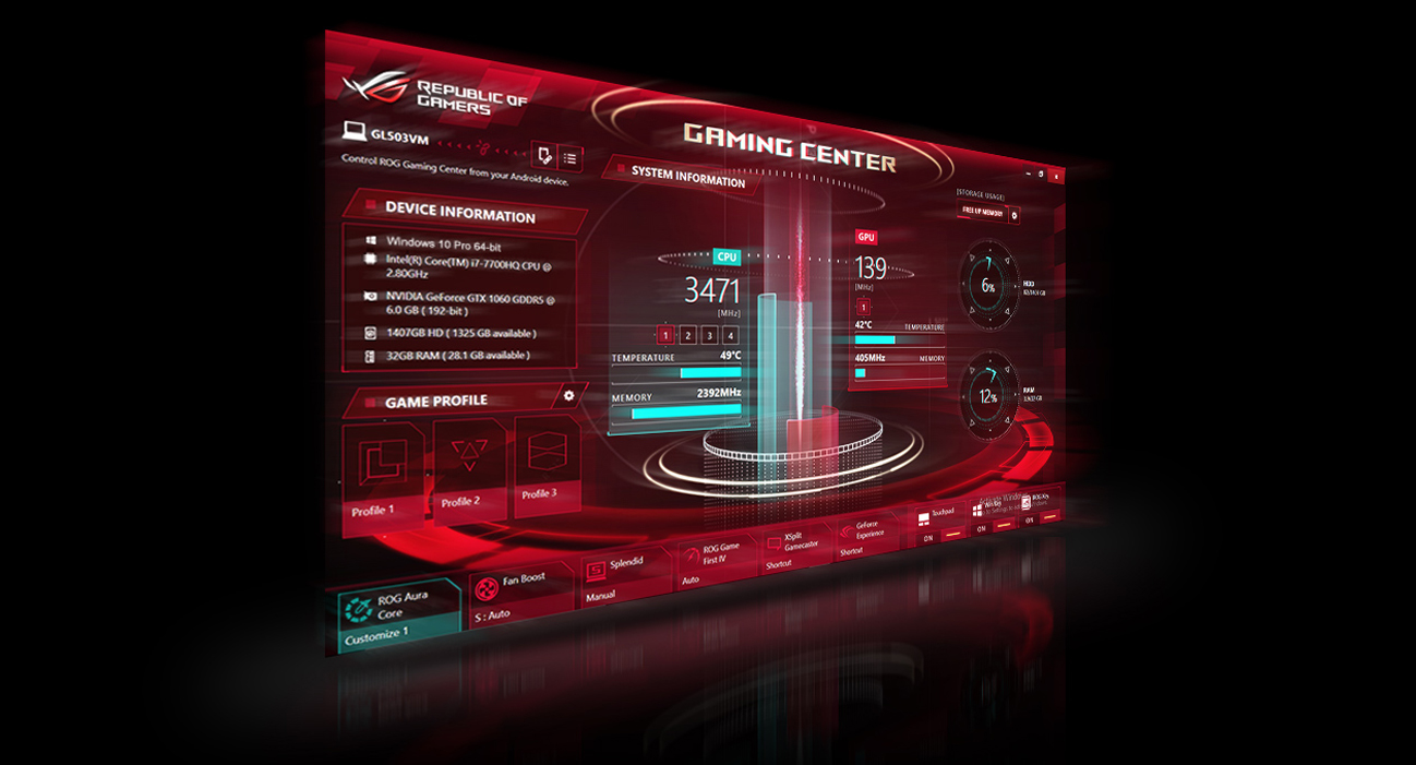 ASUS ROG Strix GL703GS SCAR ROG gaming Center