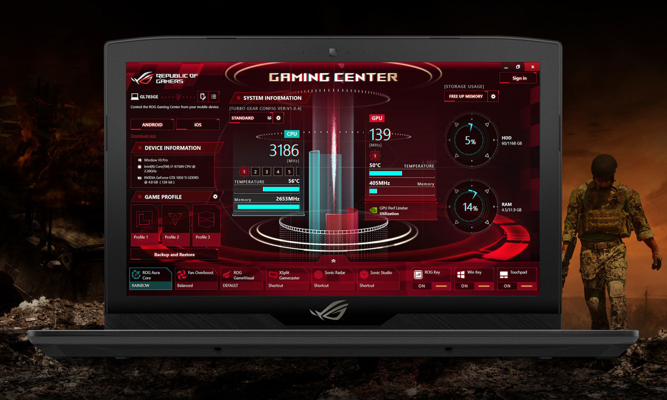 ASUS ROG Strix SCAR GL703GM Uzbrojony w ROG Gaming Center