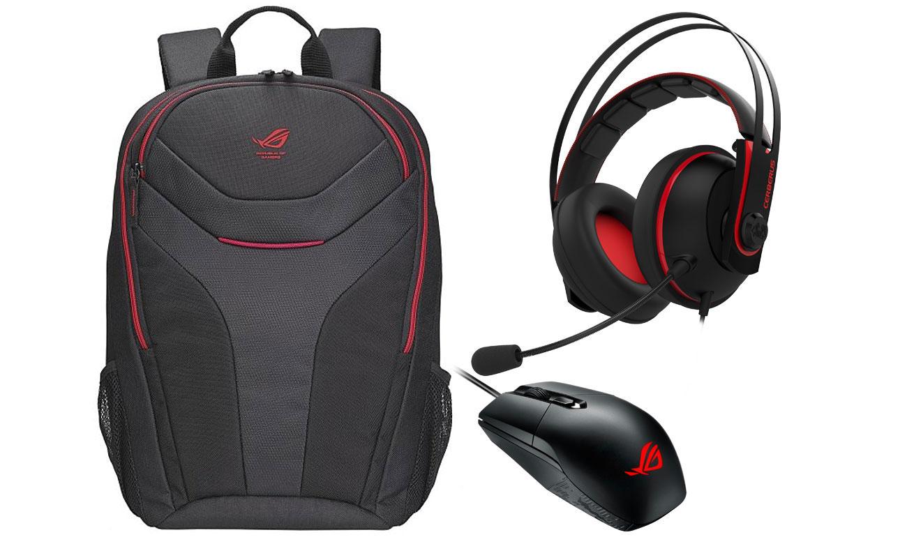 ASUS ROG Strix SCAR GL703GM + plecak ROG, słuchawki Cerberus V2, mysz ROG Strix Impact