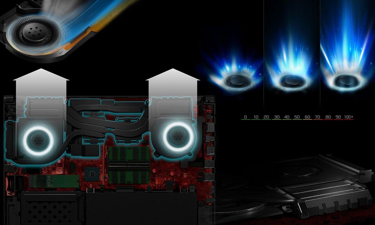 ASUS ROG Strix SCAR II GL504GS Niezwykle wydajny system chłodzenia HyperCool Pro