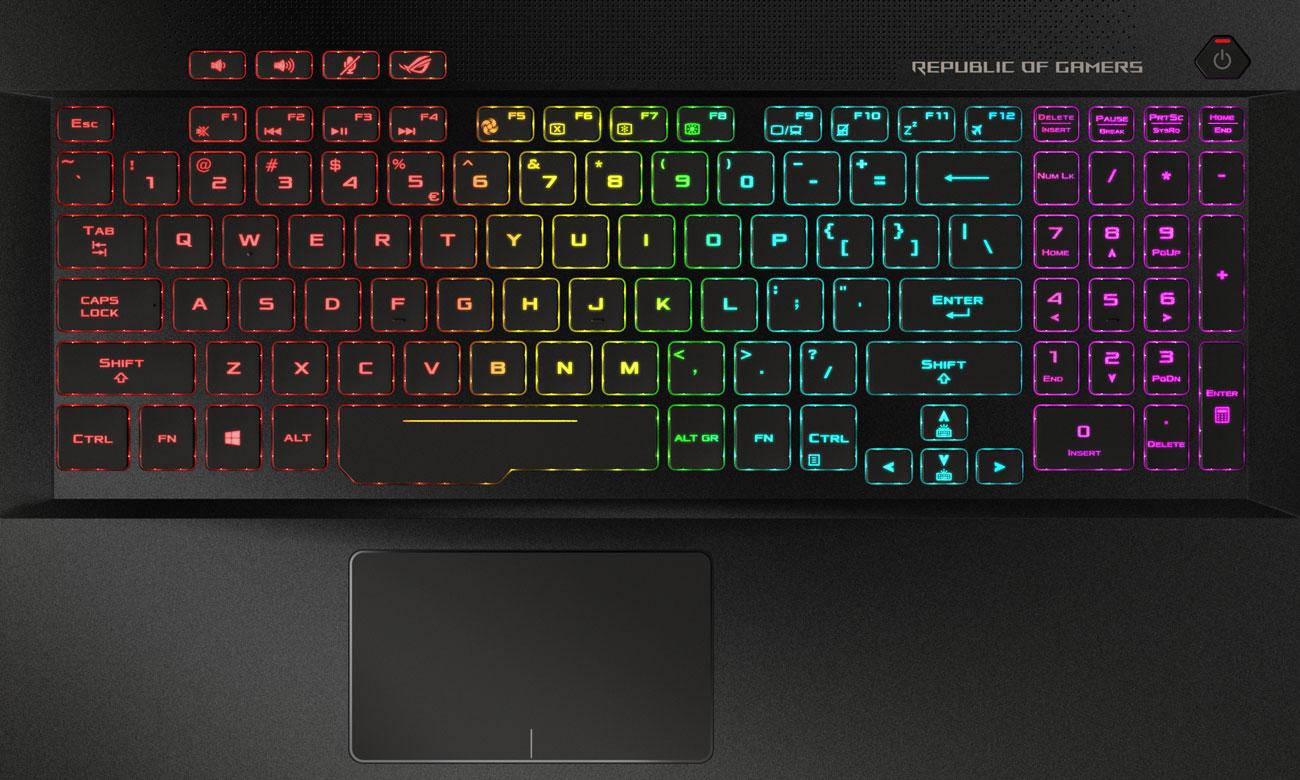 ASUS ROG Zephyrus M GM501 Podświetlana klawiatura RGB stworzona dla graczy