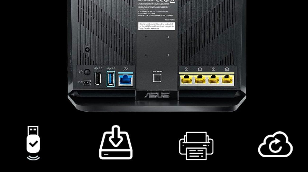 ASUS RT-AC86U Opcje połączeń i udostępniania