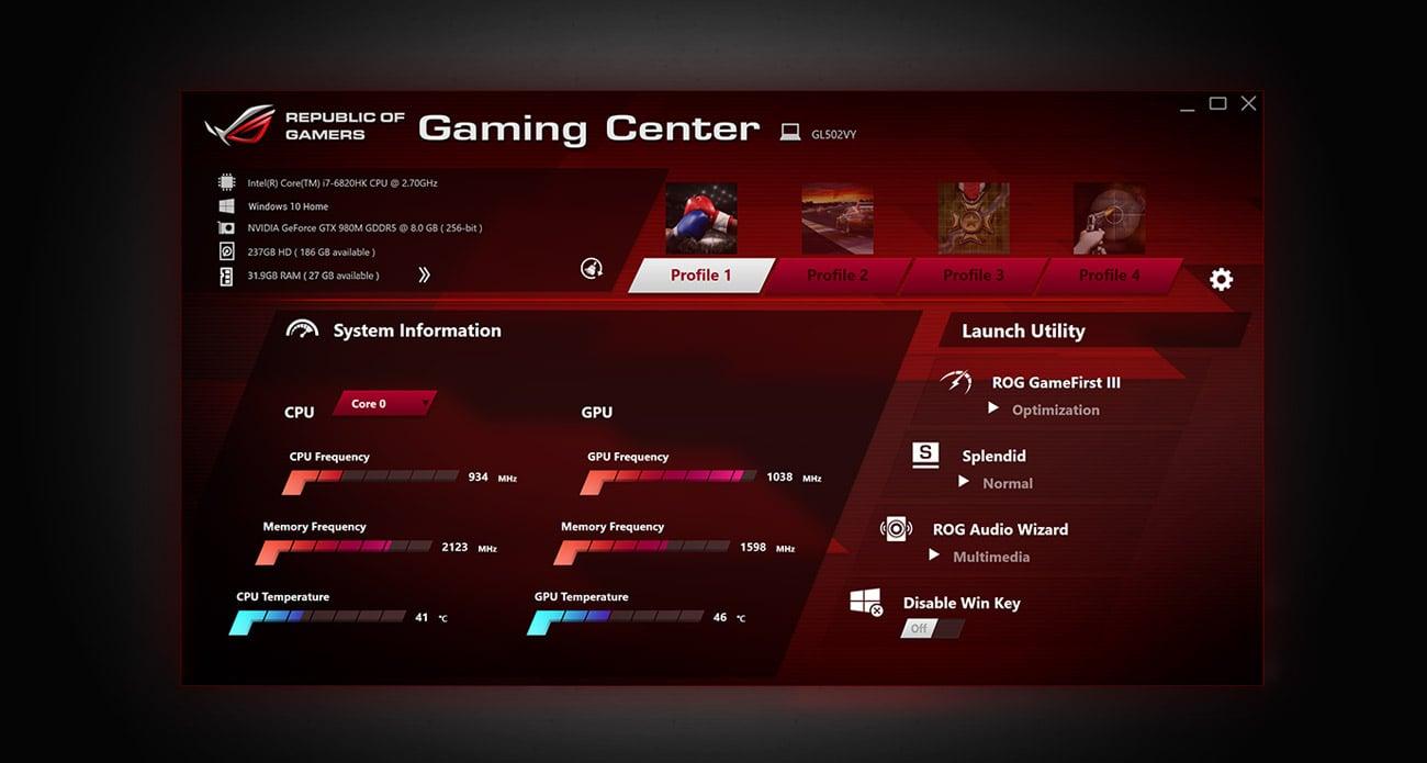 Laptop ASUS ROG Strix GL502VS i7 rog gaming center łatwe dowodzenie
