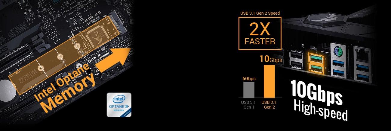 ASUS TUF X299 MK2 Złącza M.2 oraz porty USB