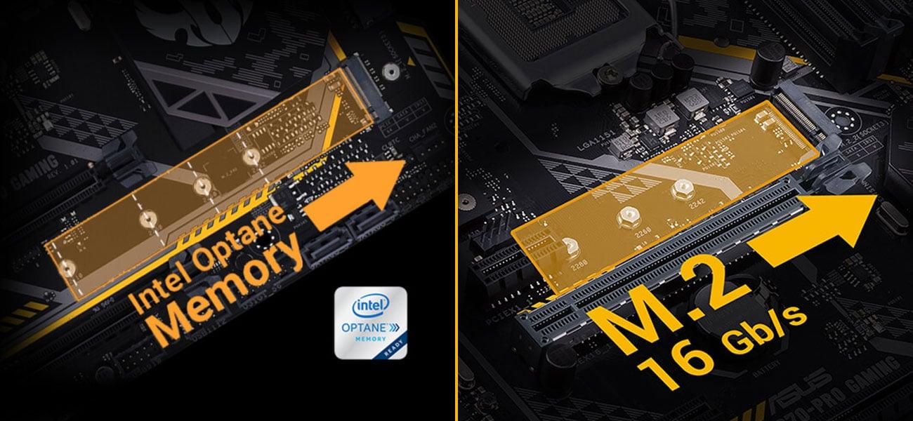 ASUS TUF B360-Plus Gaming Najwyższe prędkości transferu danych Kompatybilność z Intel Optane