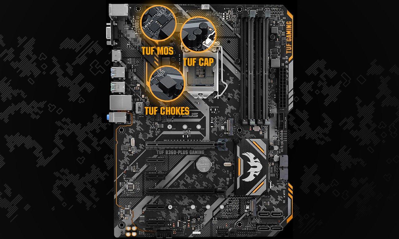 ASUS TUF B360-Plus Gaming Wytrzymałe komponenty