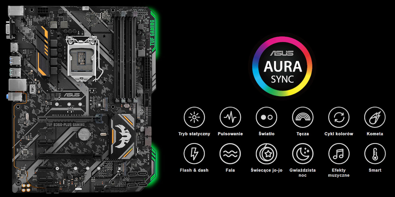 ASUS TUF B360-Plus Gaming podświetlenie ASUS Aura