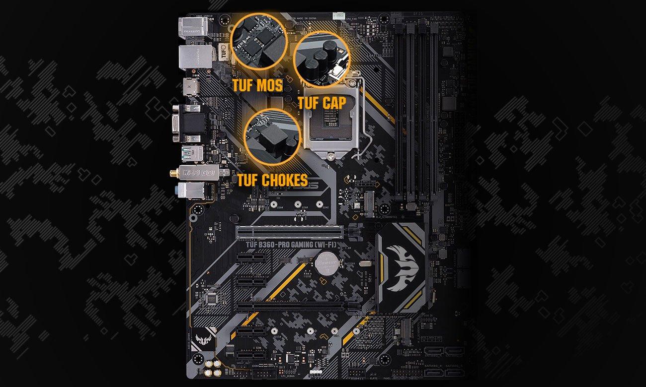 ASUS TUF B360-Pro Gaming (Wi-Fi) Wytrzymałe komponenty