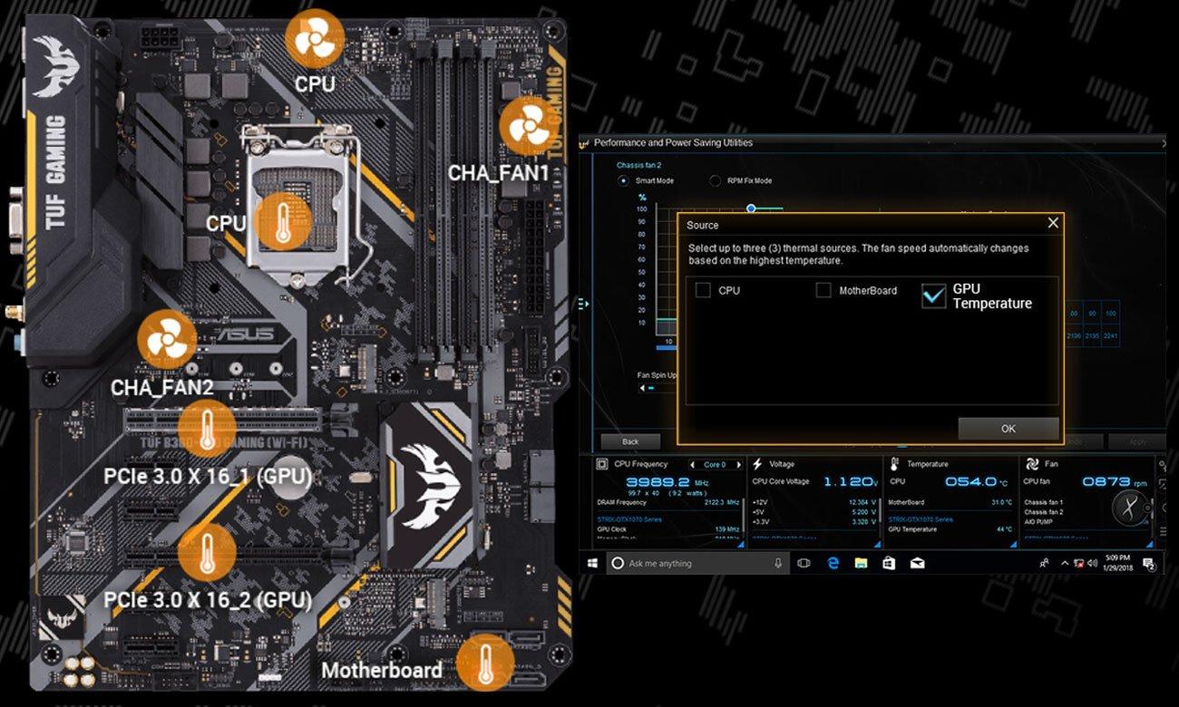 ASUS TUF B360-Pro Gaming (Wi-Fi) Elastczne sterowanie chłodzeniem Fan Xpert 4 Core