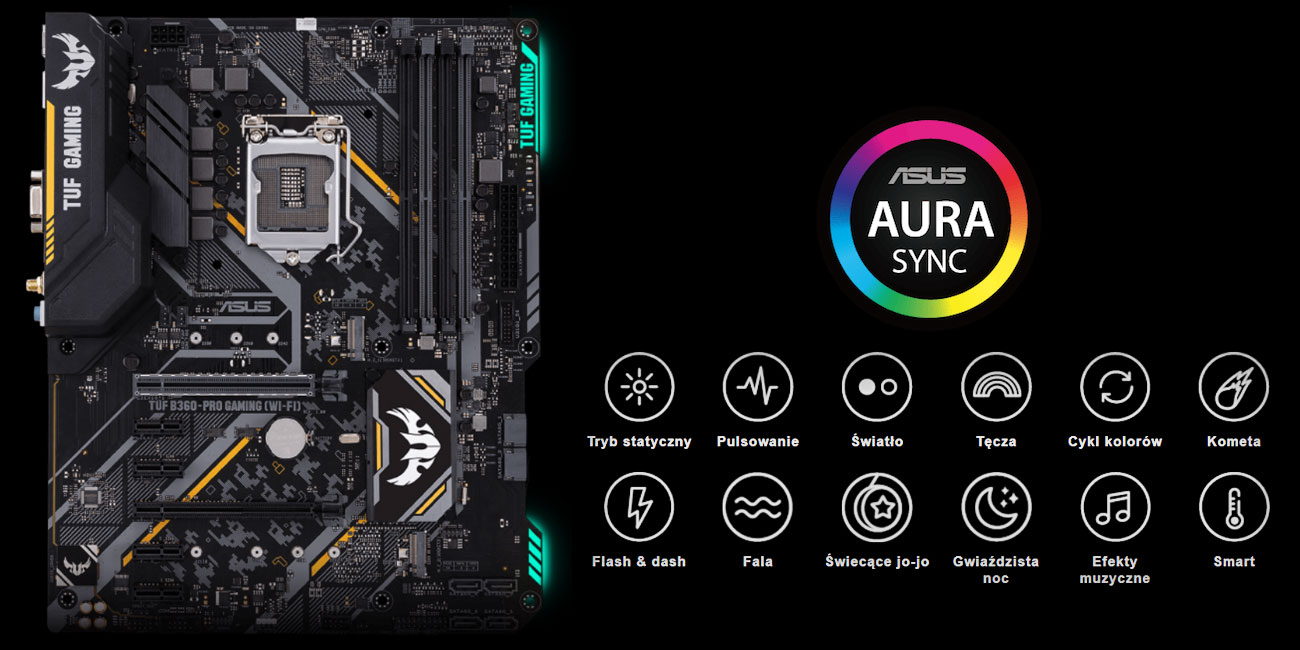 ASUS TUF B360-Pro Gaming (Wi-Fi) podświetlenie ASUS Aura