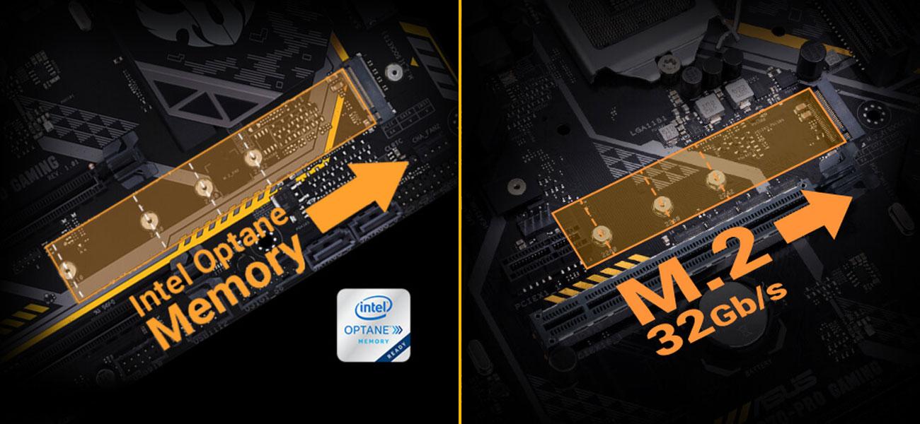ASUS TUF B360-Pro Gaming Najwyższe prędkości transferu danych Kompatybilność z Intel Optane