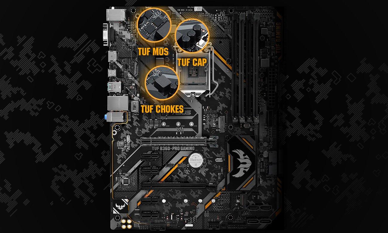 ASUS TUF B360-Pro Gaming Wytrzymałe komponenty