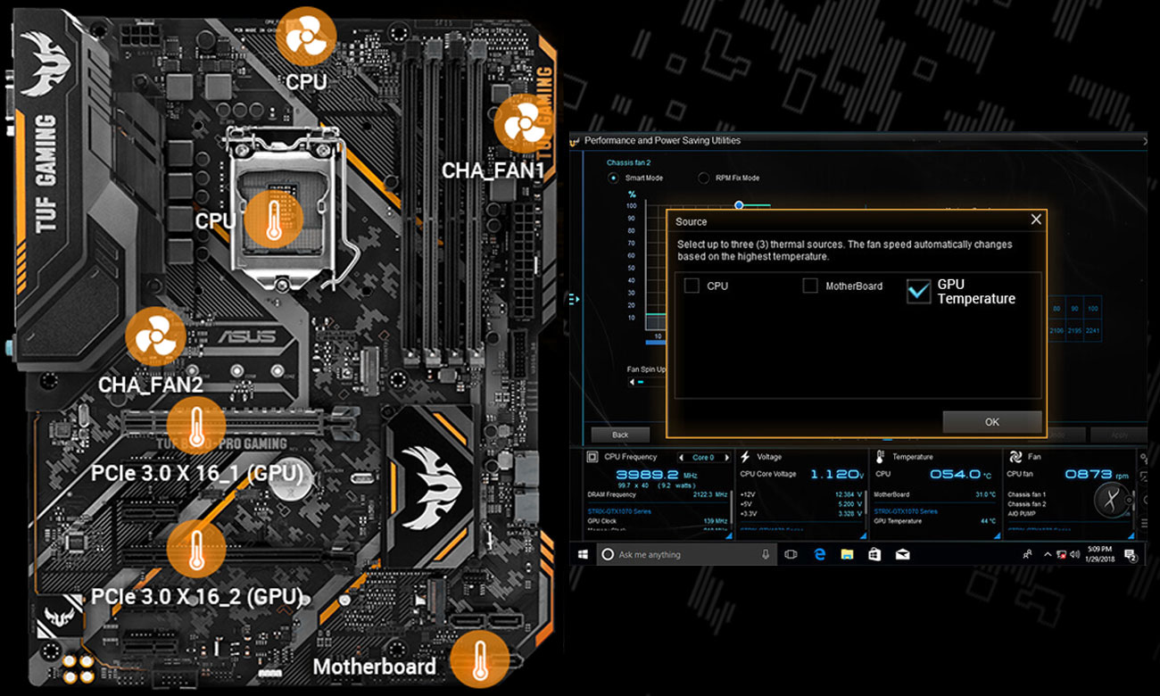 ASUS TUF B360-Pro Gaming Elastyczne sterowanie chłodzeniem Fan Xpert 4 Core