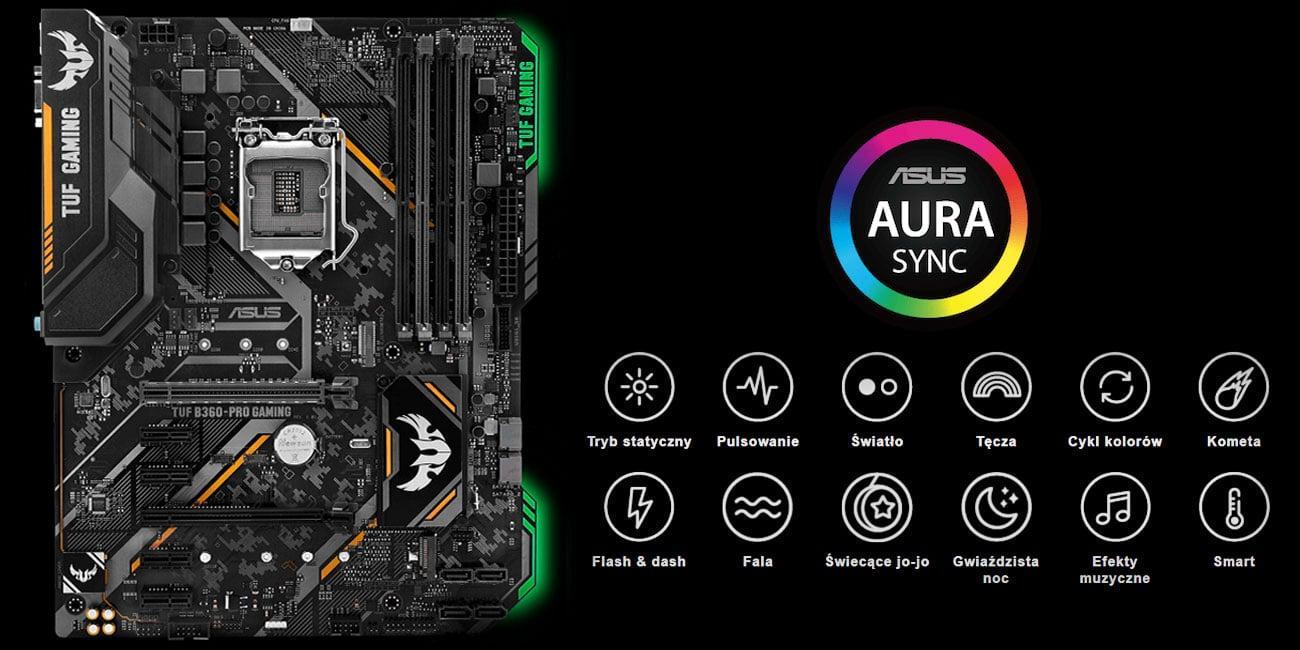 ASUS TUF B360-Pro Gaming podświetlenie ASUS Aura