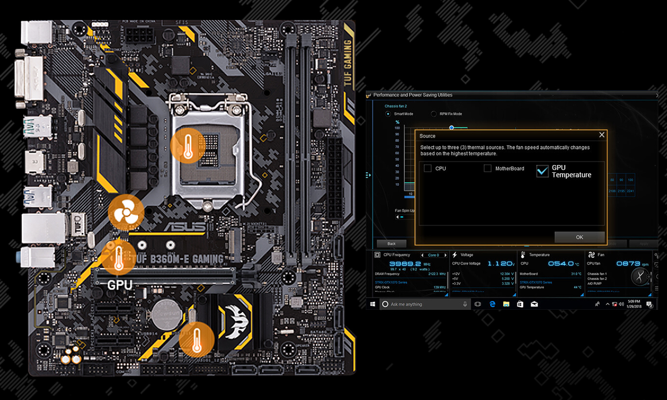 ASUS TUF B360M-E Gaming Elastyczne sterowanie chłodzeniem Fan Xpert