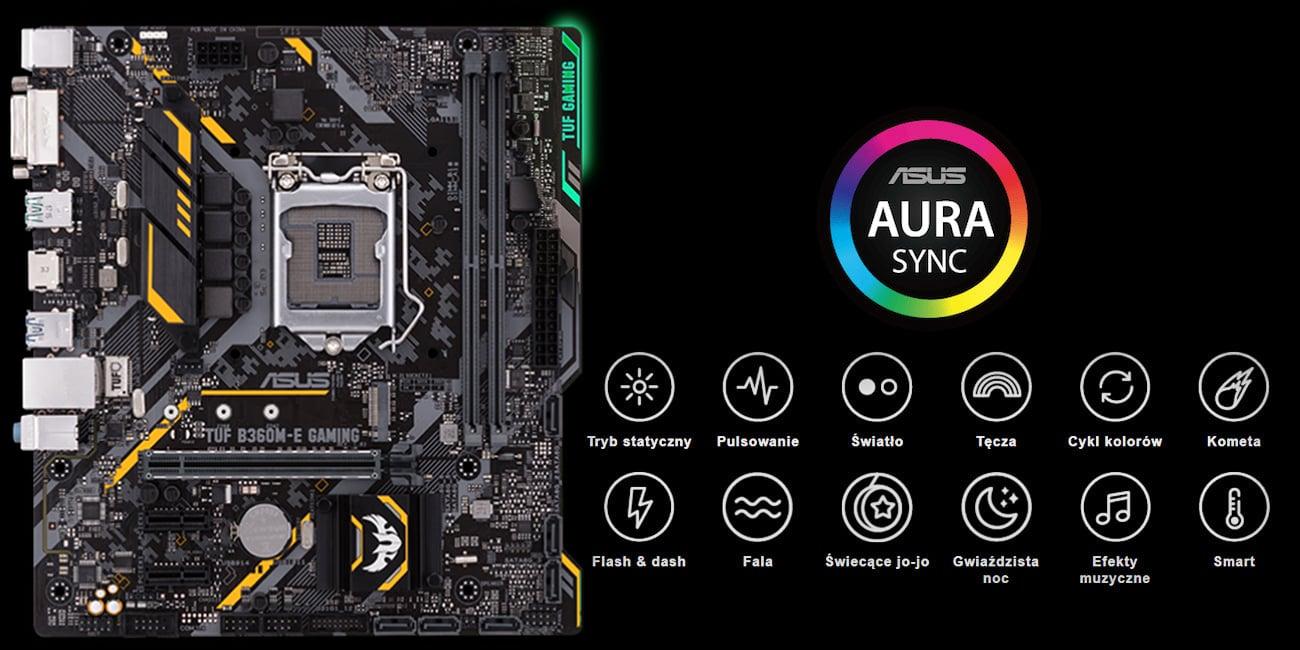 ASUS TUF B360M-E Gaming podświetlenie ASUS Aura