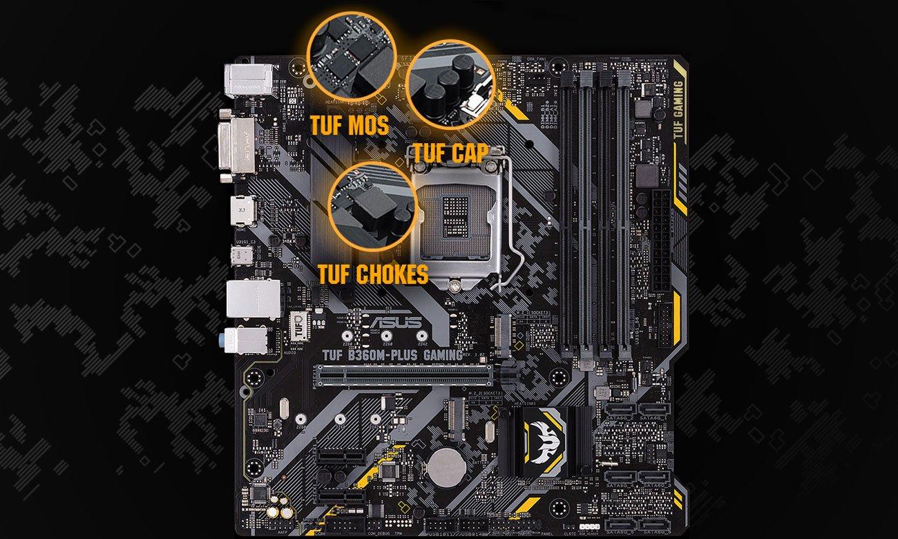 ASUS TUF B360M-Plus Gaming Wytrzymałe komponenty