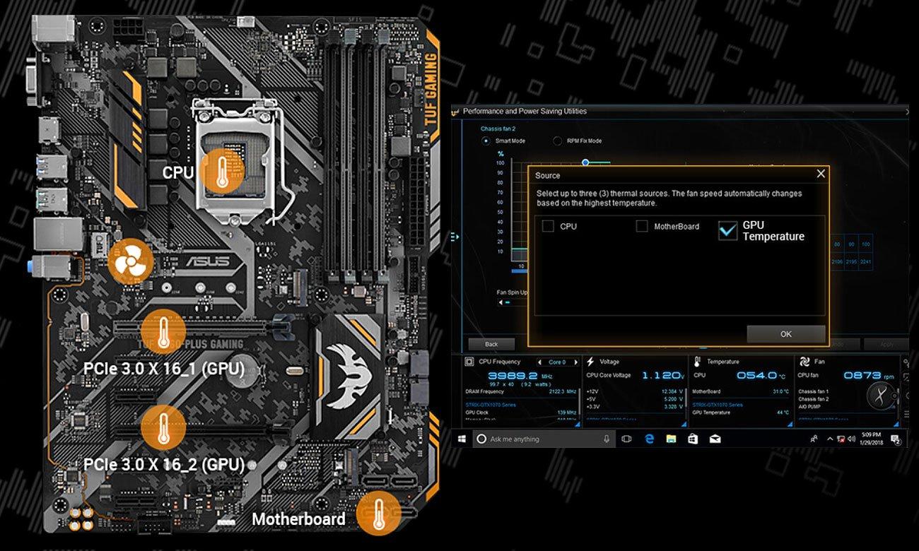 ASUS TUF B360M-Plus Gaming Elastczne sterowanie chłodzeniem